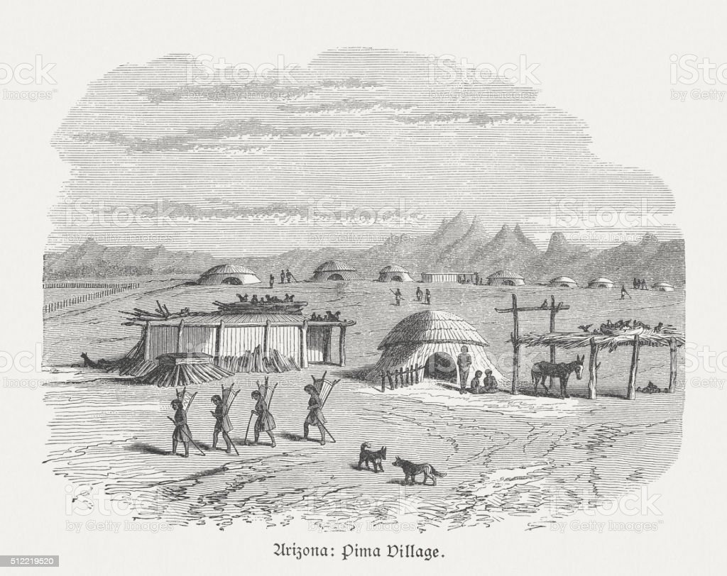 Pima Village, Indigenous peoples in Arizona, wood engraving, published 1880 vector art illustration