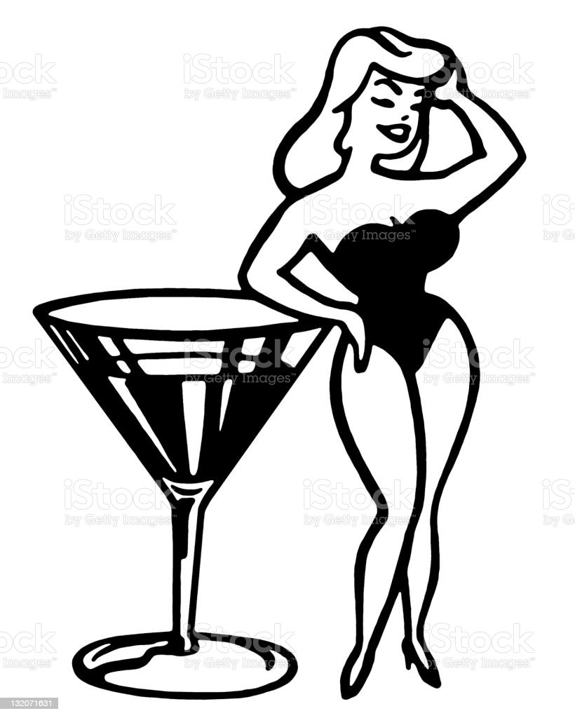 Pin Up Girl Next to Large Martini vector art illustration