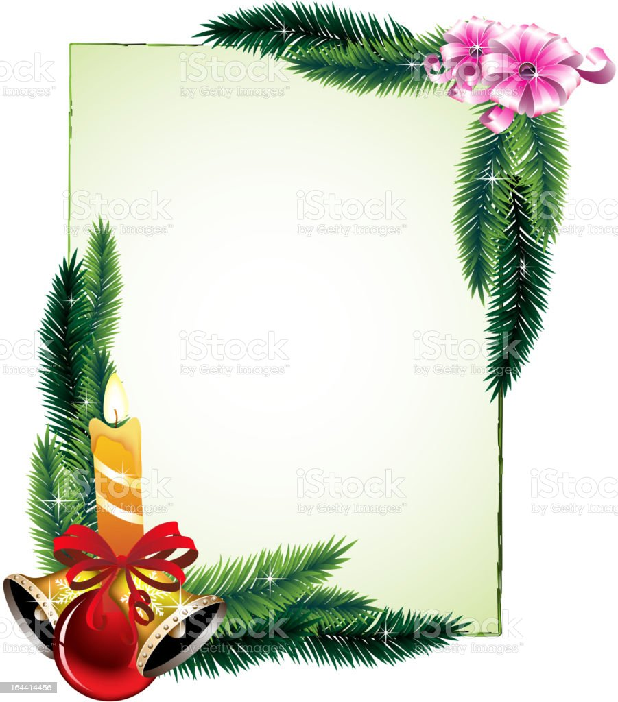 Pine branches and decorations royalty-free stock vector art