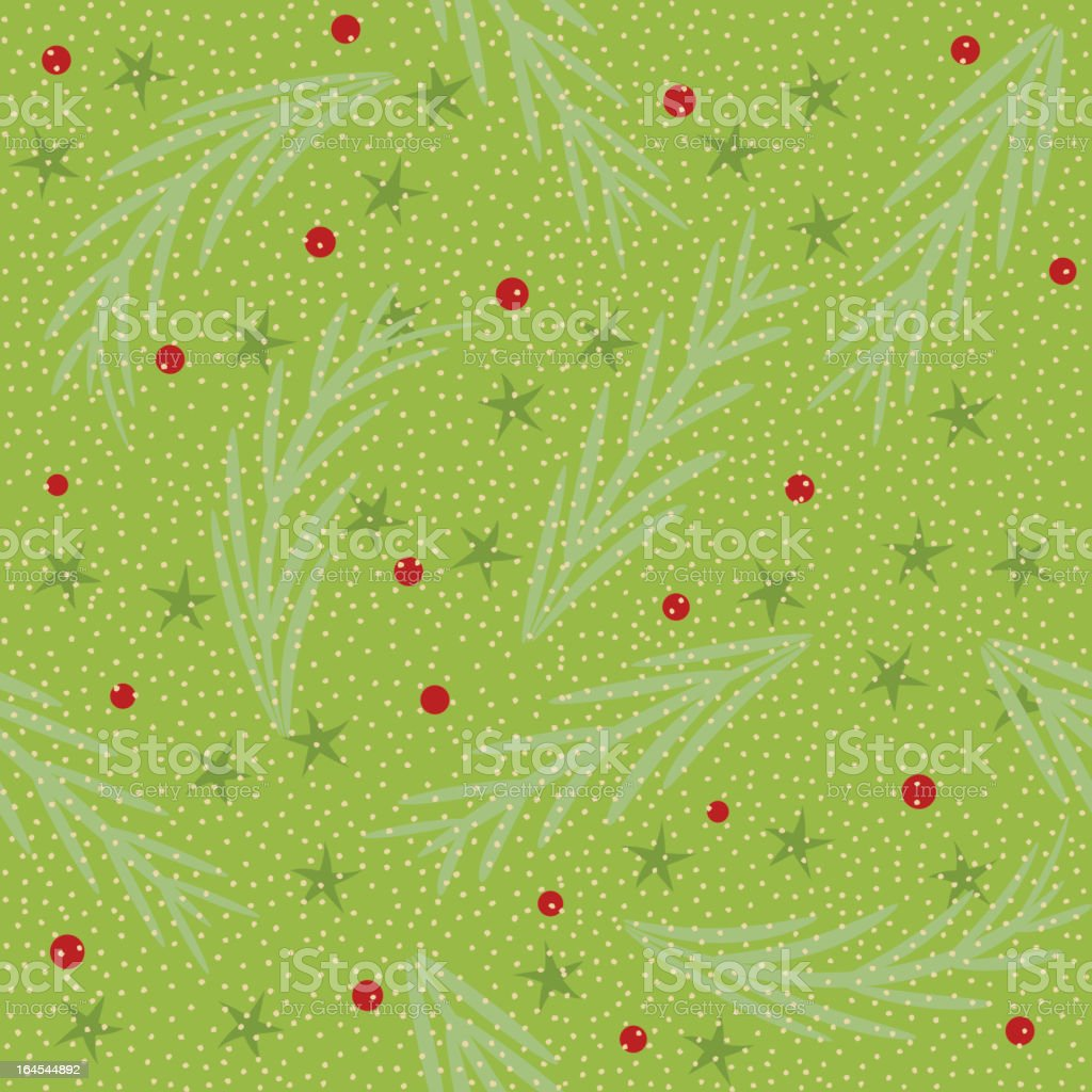 Pine needles and berries seamless tile background royalty-free stock vector art