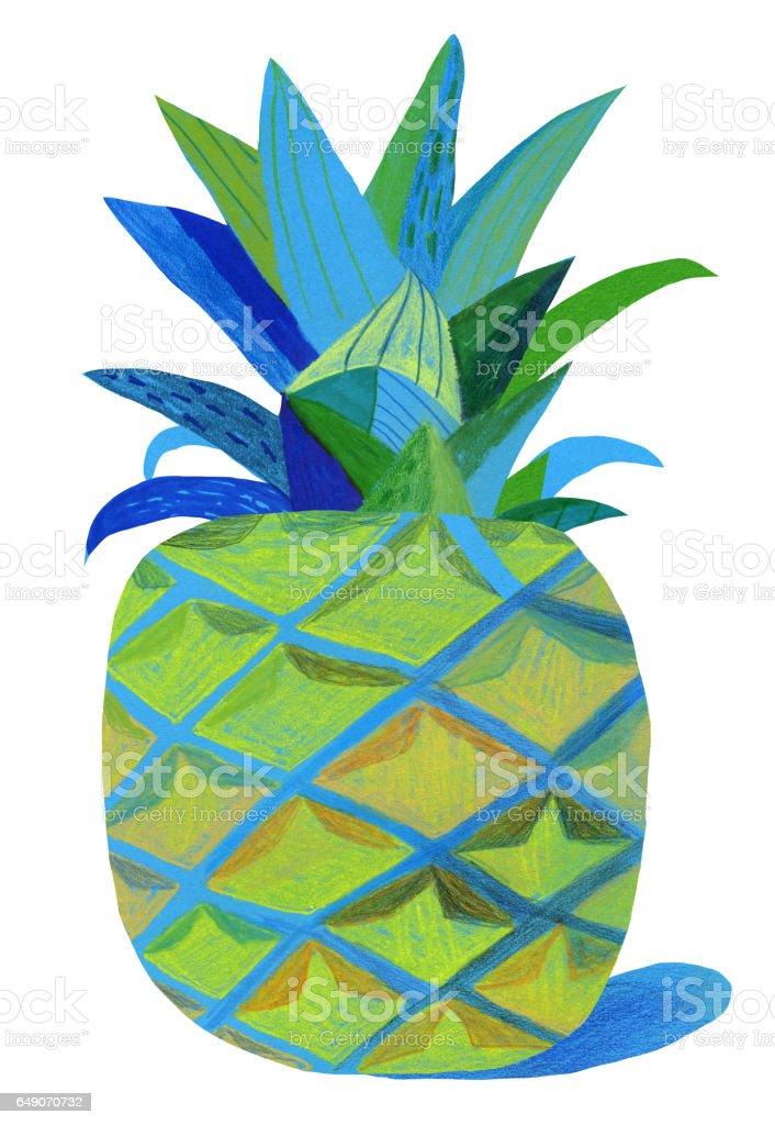 Pineapple on white background vector art illustration
