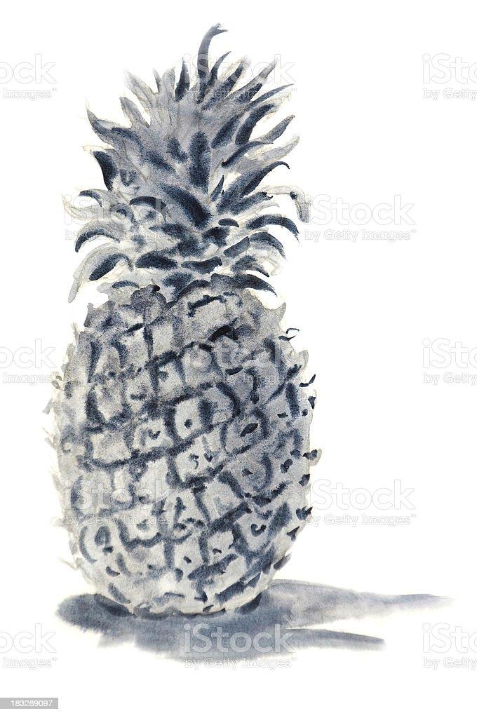 Pineapple Portrait vector art illustration