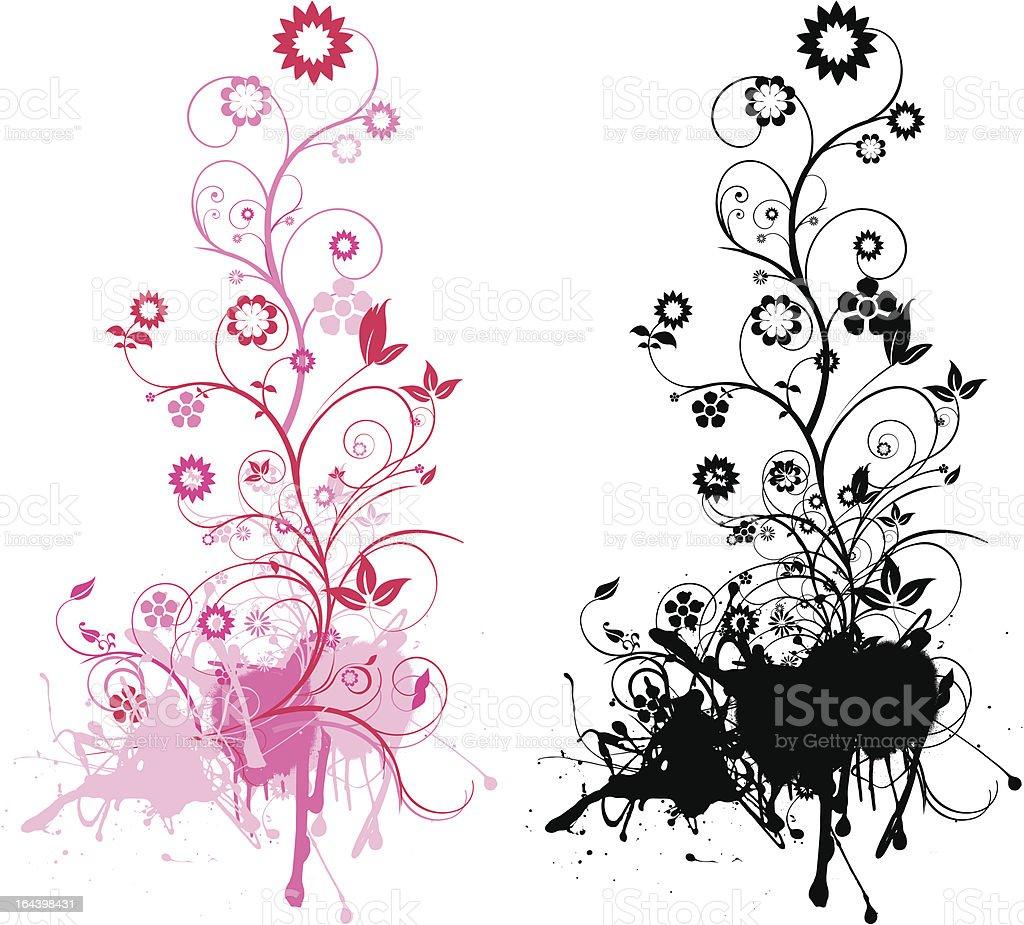 pink und schwarz floral grunge-Motiv Lizenzfreies vektor illustration