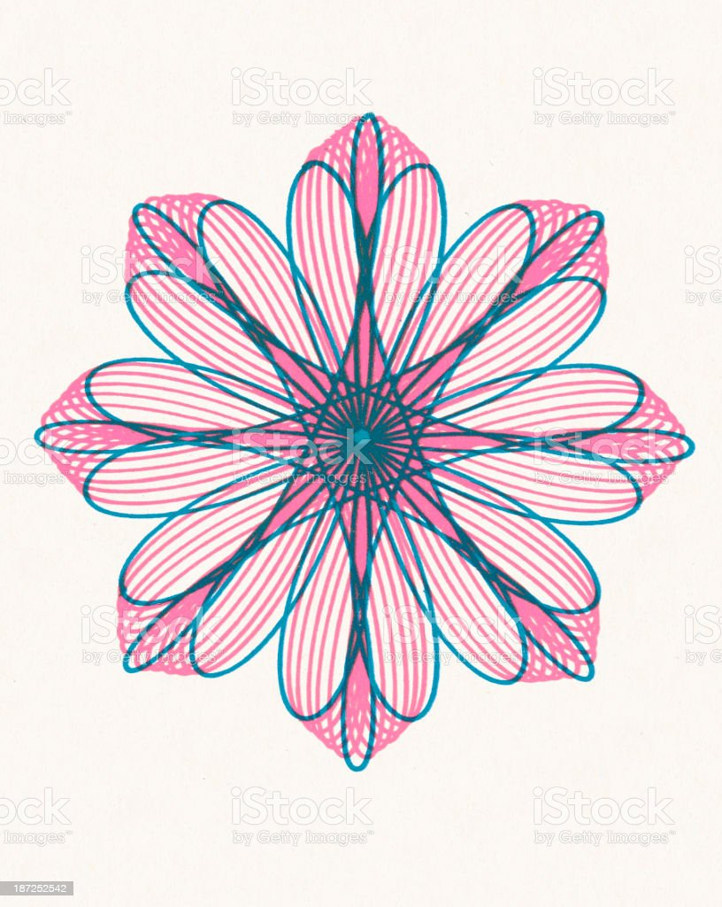 Pink and Blue Flower Shape Line Drawing royalty-free stock vector art