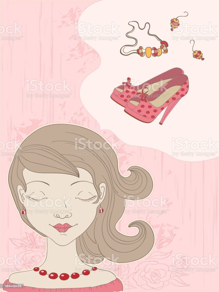 pink  background with girl royalty-free stock vector art