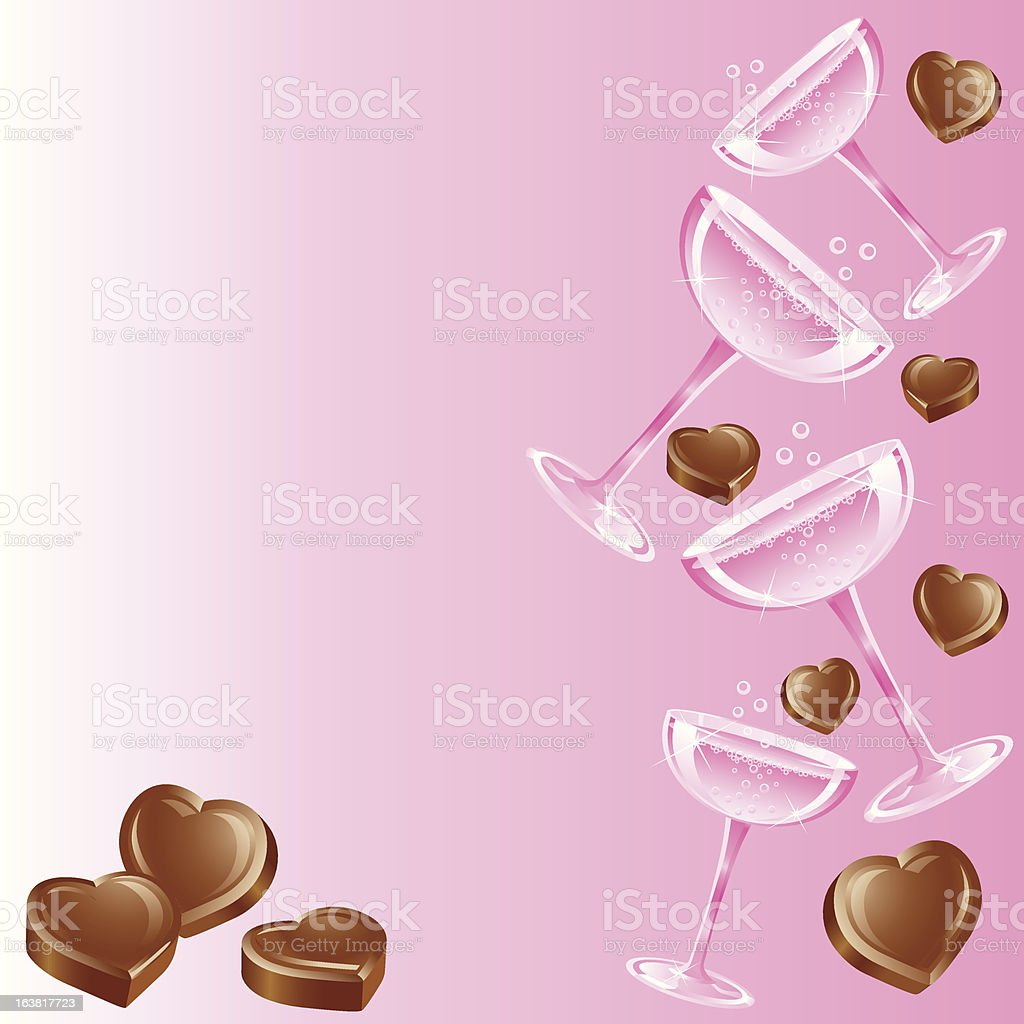 Pink Champagne and Chocolates vector art illustration