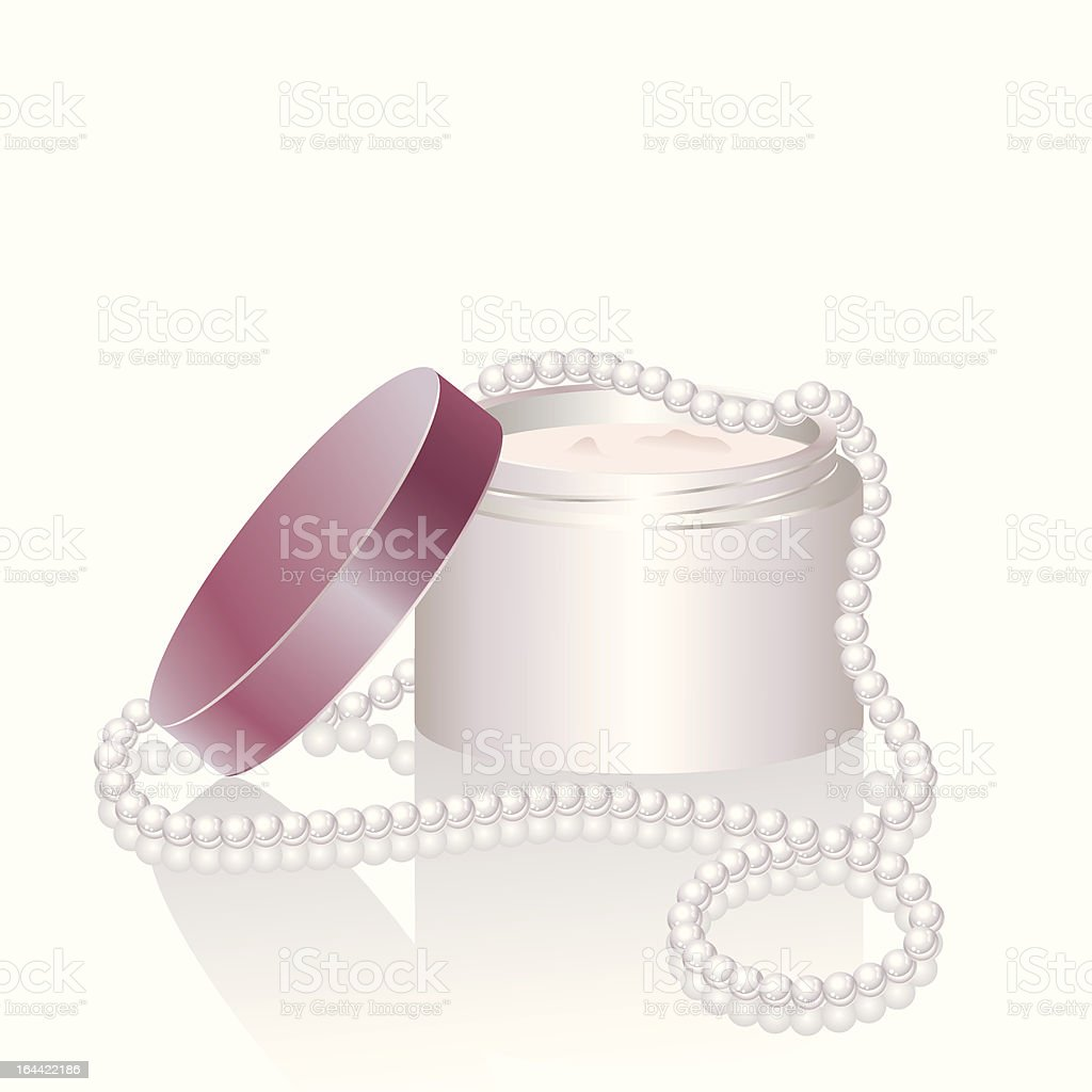 Pink cream jar and pearl necklace royalty-free stock vector art