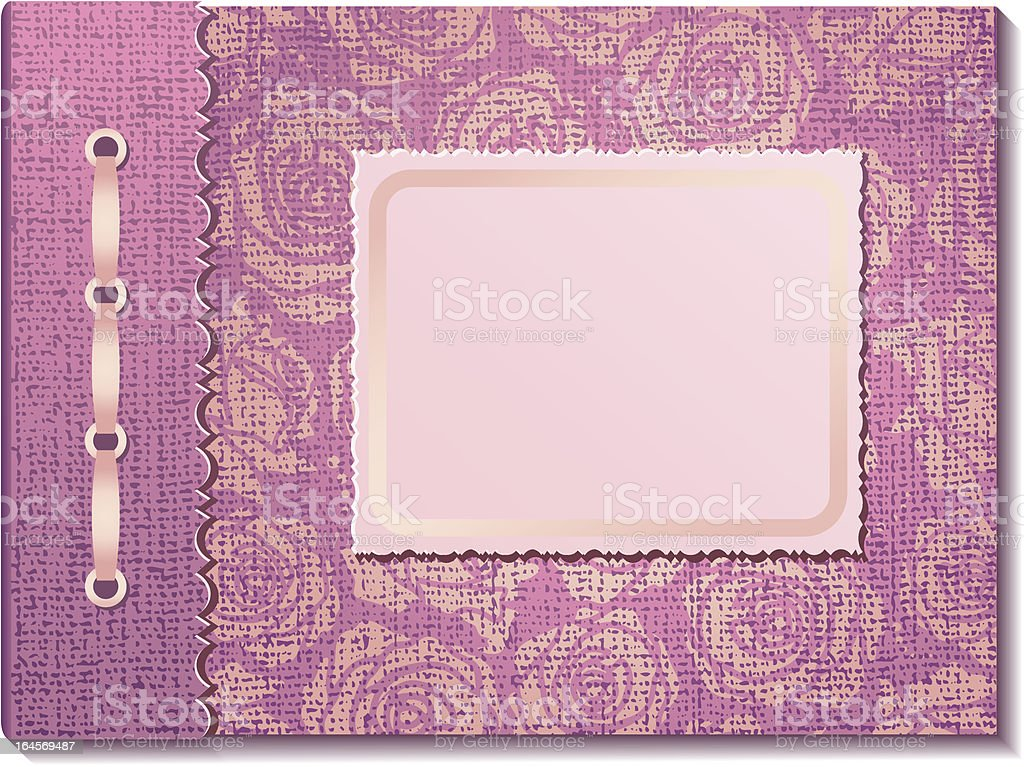 Pink fabric cover a photo album royalty-free stock vector art