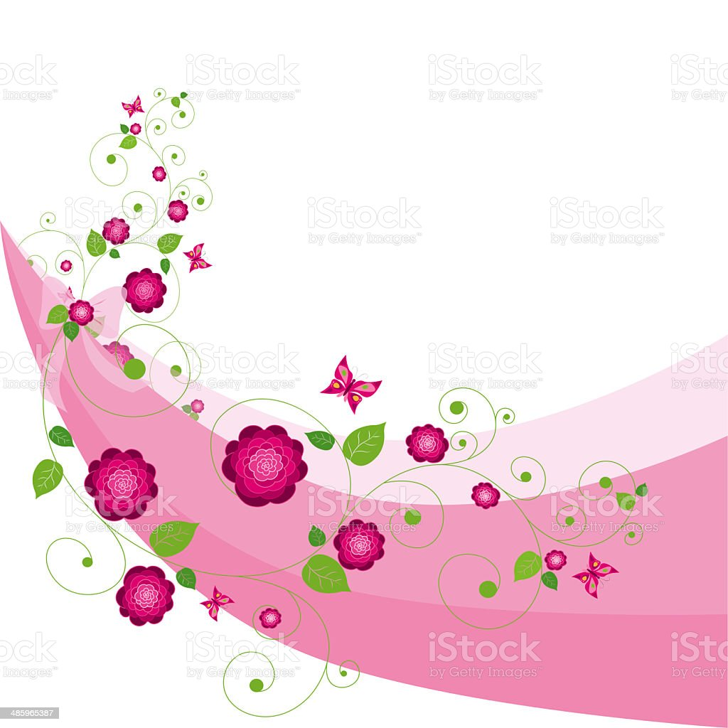Pink  flower background . vector art illustration