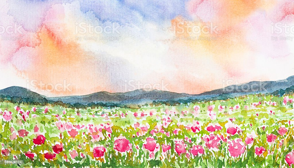 pink flower field landscape watercolor painted vector art illustration