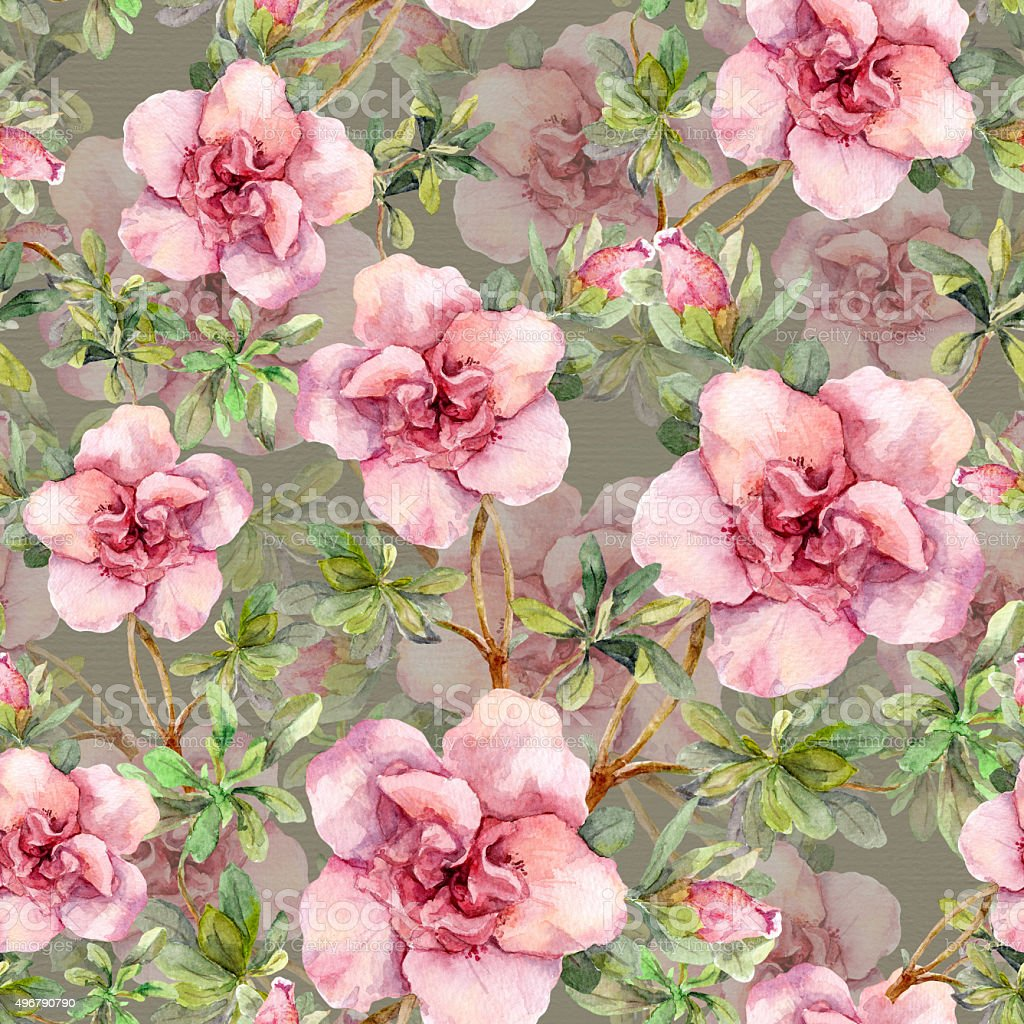 Pink flowers. Seamless floral wallpaper. Watercolour art on gray background vector art illustration