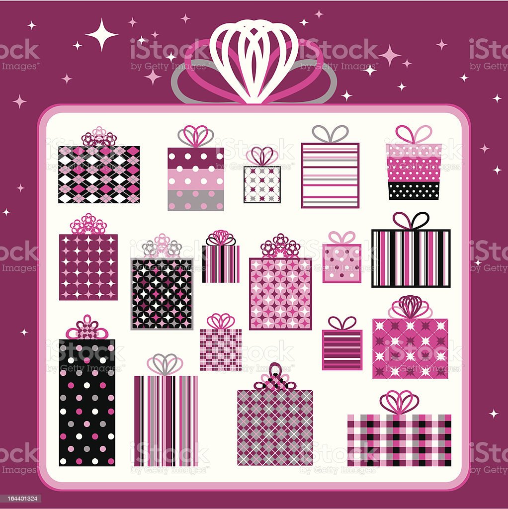 Pink Gift Collection vector art illustration