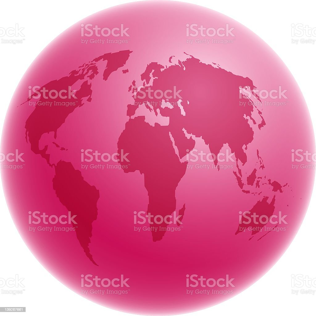 Pink globe illustration on a white background royalty-free stock vector art