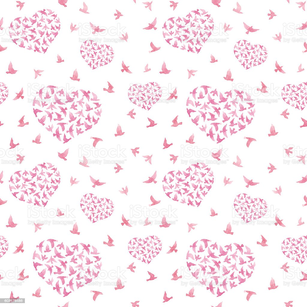 Pink heart with birds. Ditsy seamless pattern. Watercolor vector art illustration