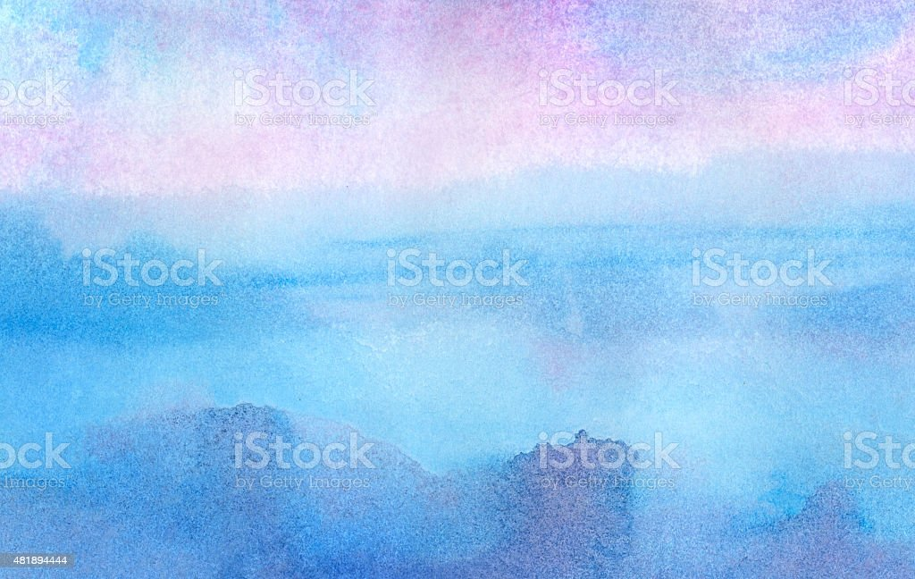 Pink morning - watercolor background vector art illustration