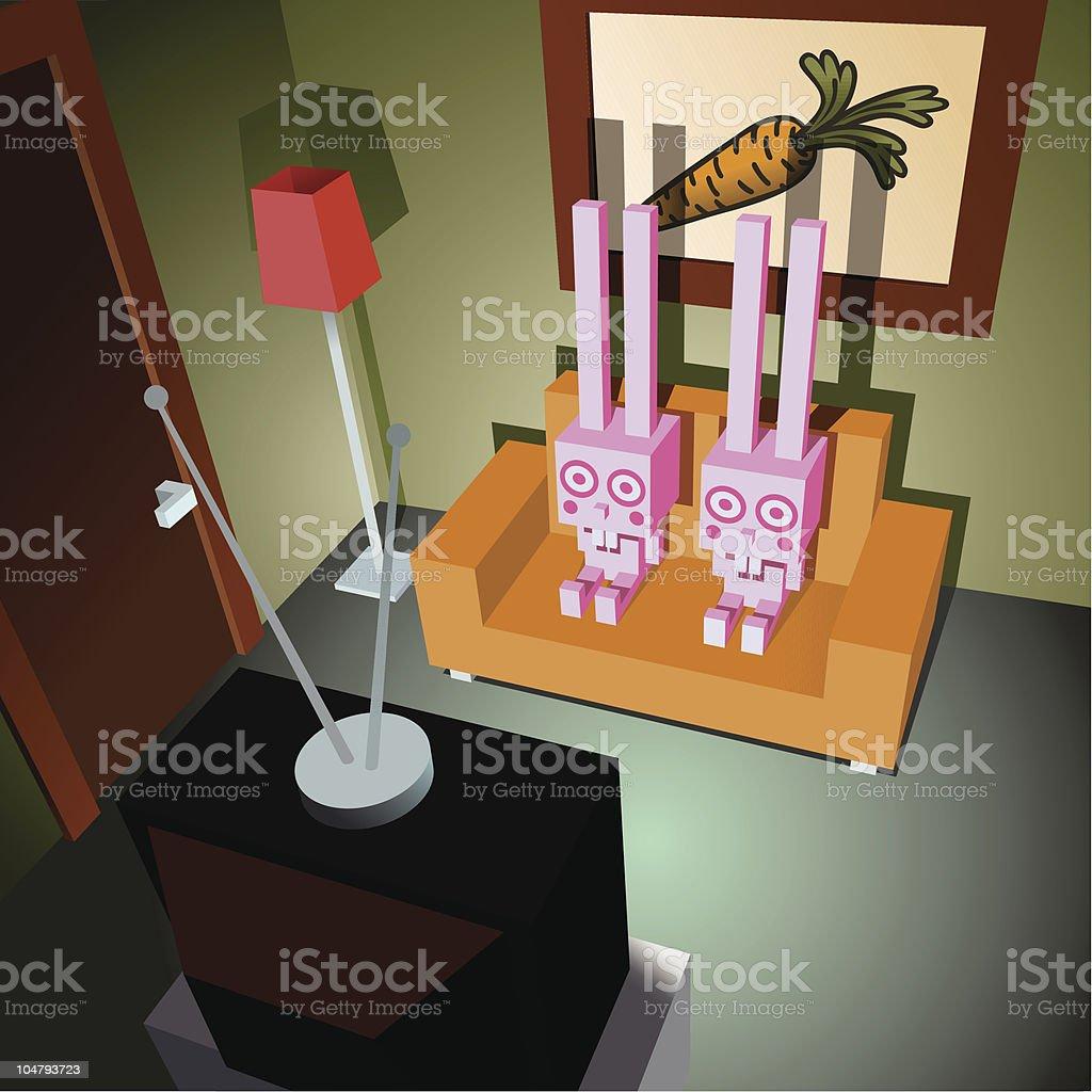 Pink rabbits watching tv royalty-free stock vector art