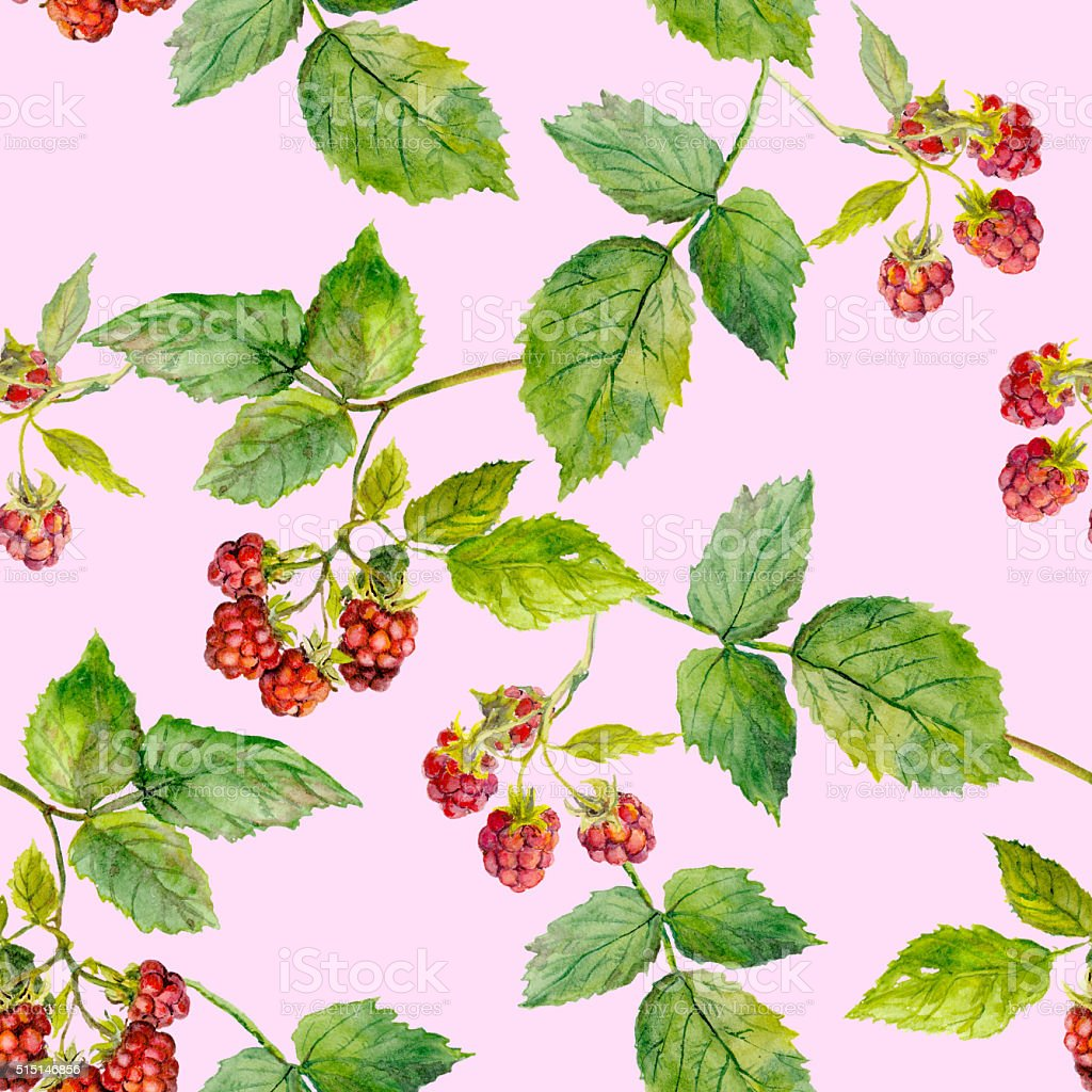 Pink repeating texture with red raspberry - berries and leaves vector art illustration