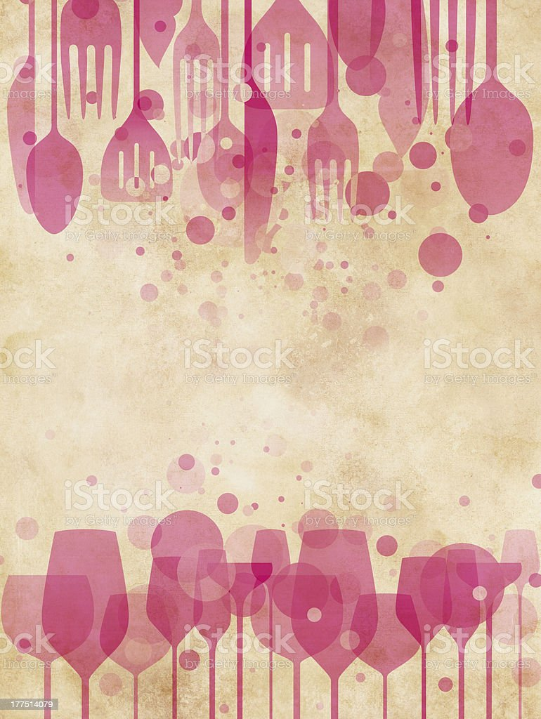 Pink silhouette background with wine glasses and cutlery royalty-free stock vector art