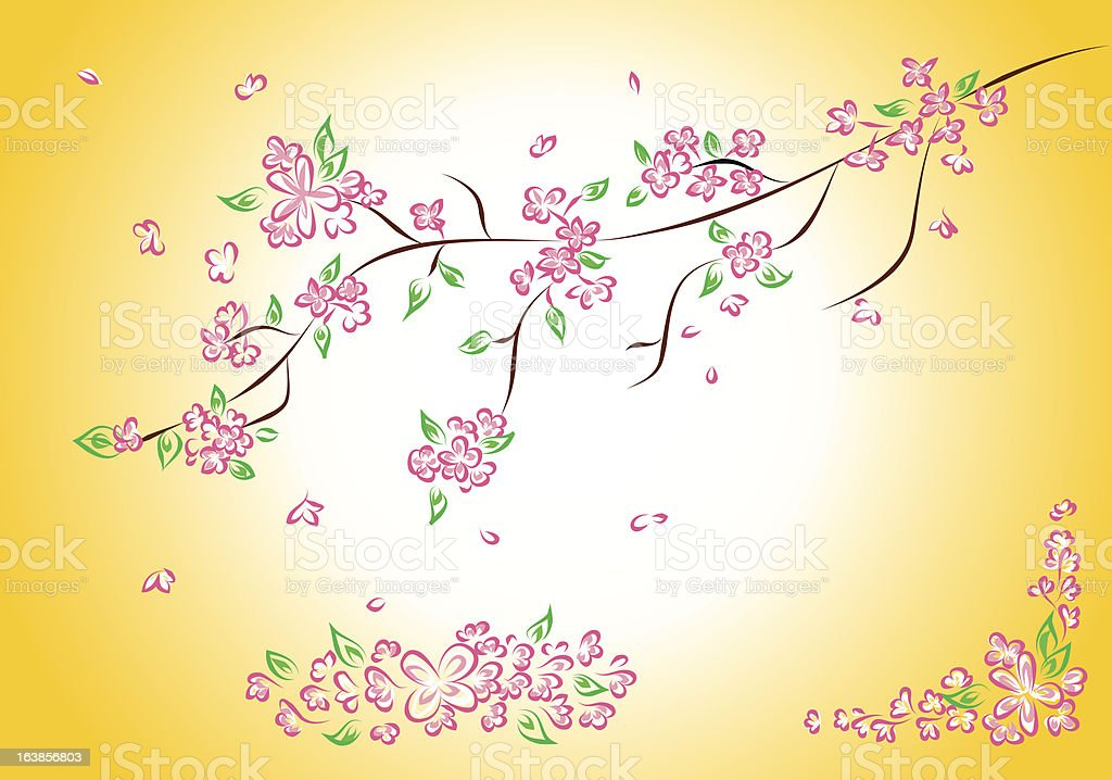 pink spring flowers royalty-free stock vector art