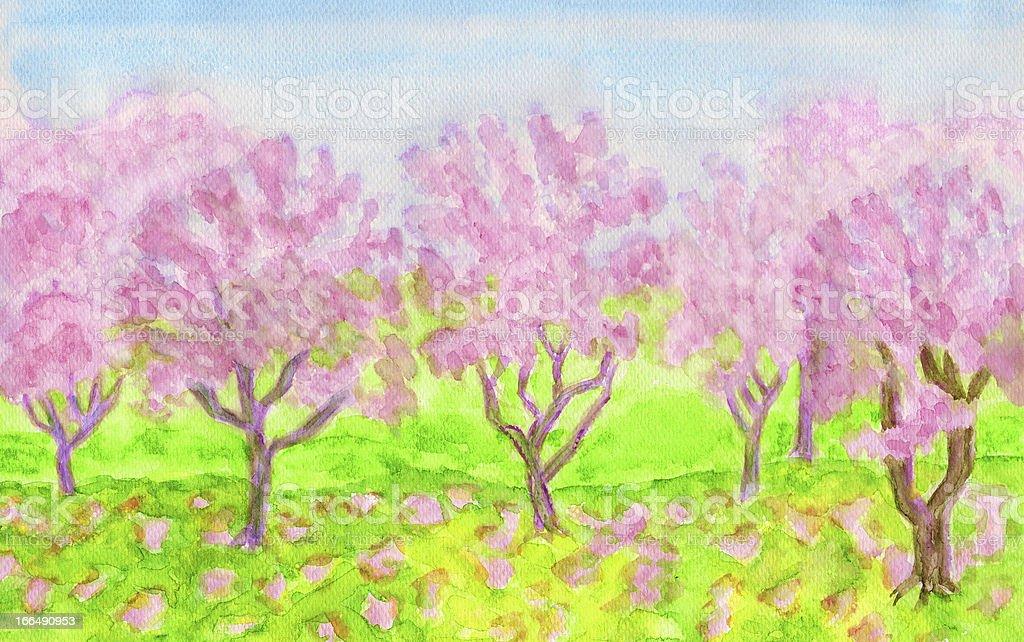 Pink spring garden, watercolours royalty-free stock vector art