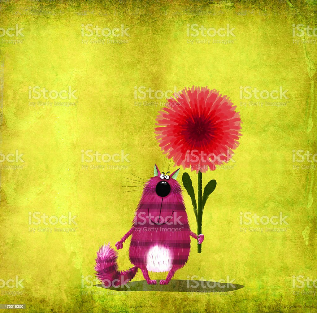 Pink Striped Cat with Red Flower vector art illustration