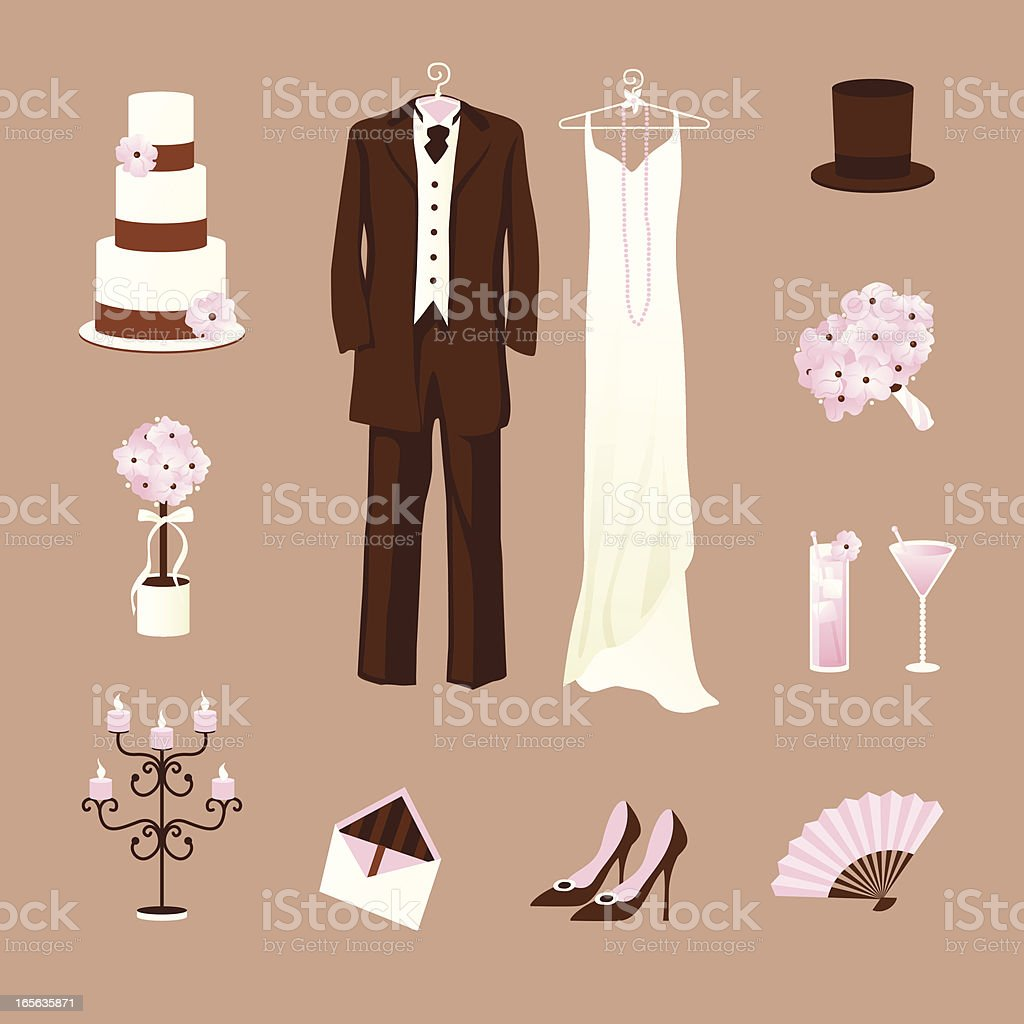 Pink vintage wedding icons vector art illustration