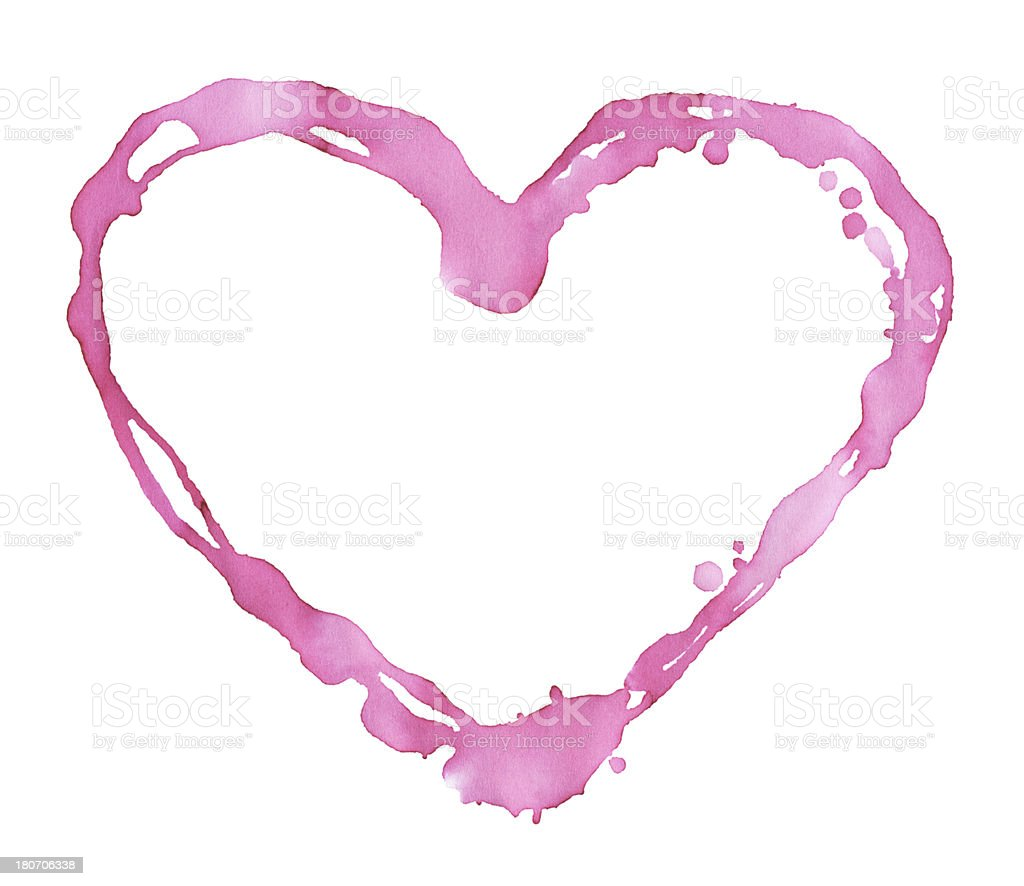 Pink Watercolor Paint Heart Shape royalty-free stock vector art