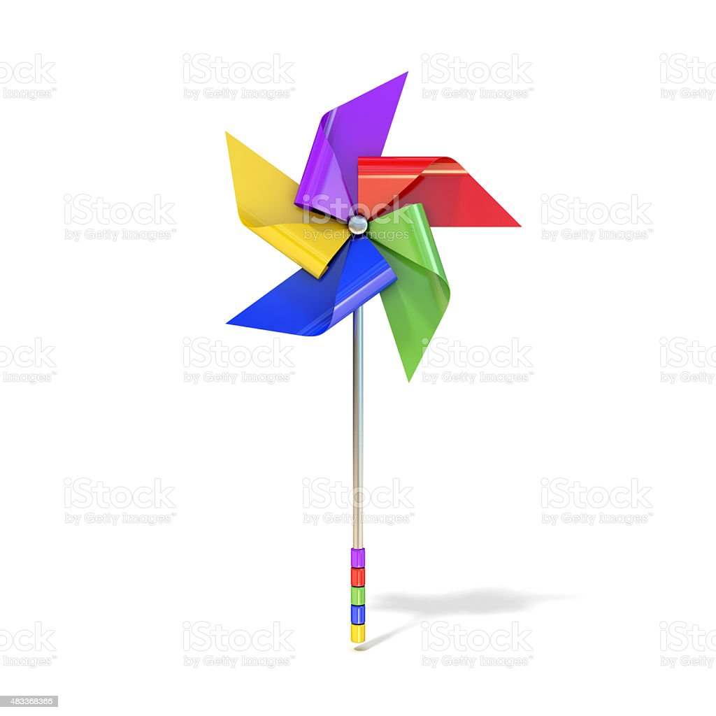 Pinwheel toy, five sided, differently colored vanes vector art illustration