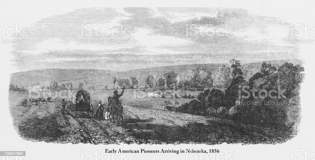 Pioneers Arriving in Nebraska, Early American Victorian Engraving, 1856 vector art illustration