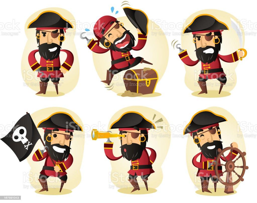 Pirate binoculars treasure coffin ship skull flag vector art illustration