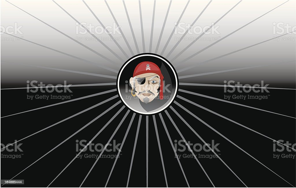 Pirate Face Button vector art illustration