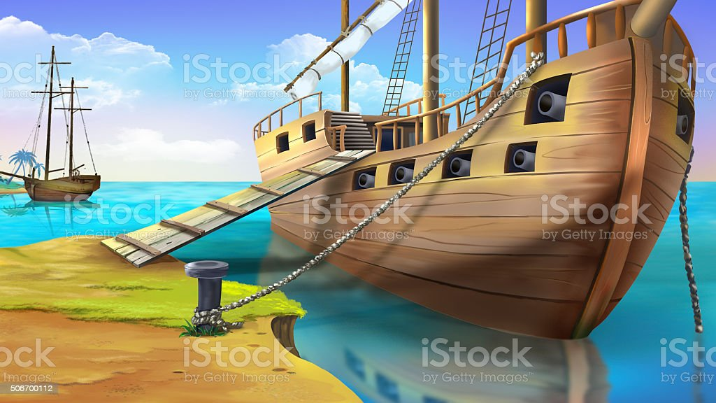 Pirate ship vector art illustration
