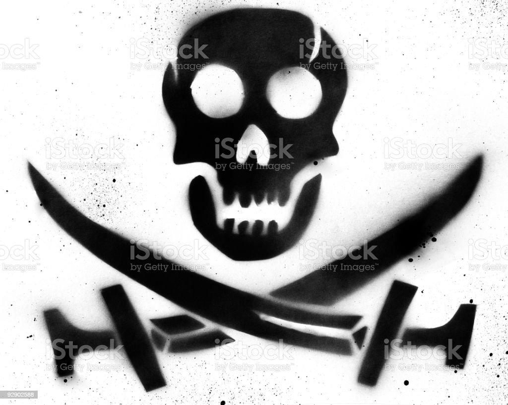 Pirate Skull Stencil vector art illustration