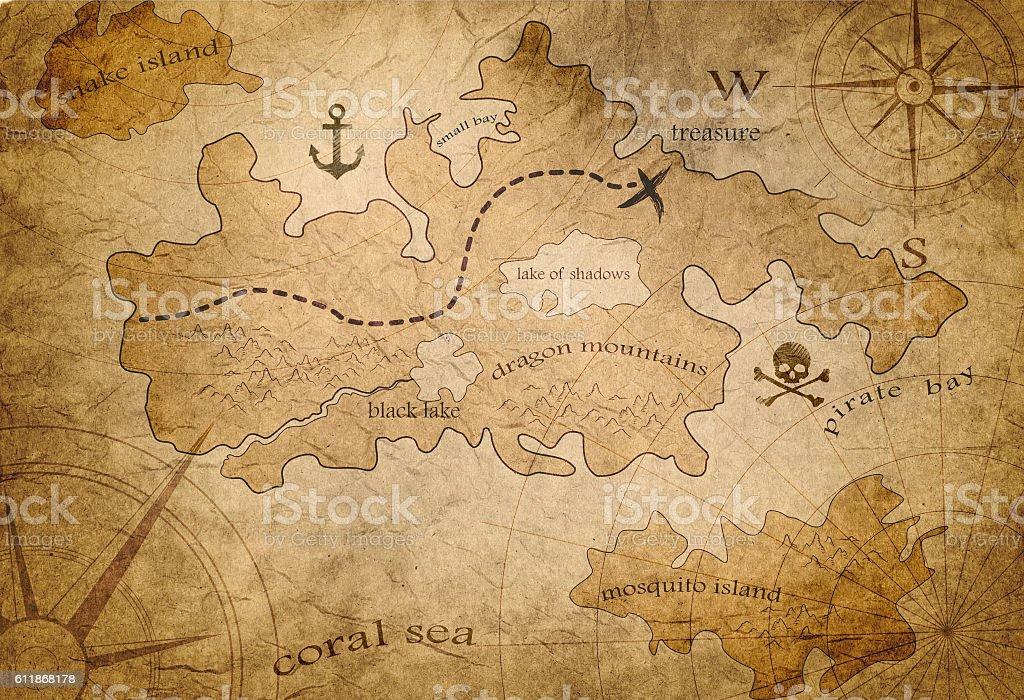 pirate treasure map vector art illustration