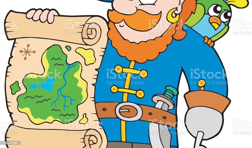Pirate with treasure map royalty-free stock vector art