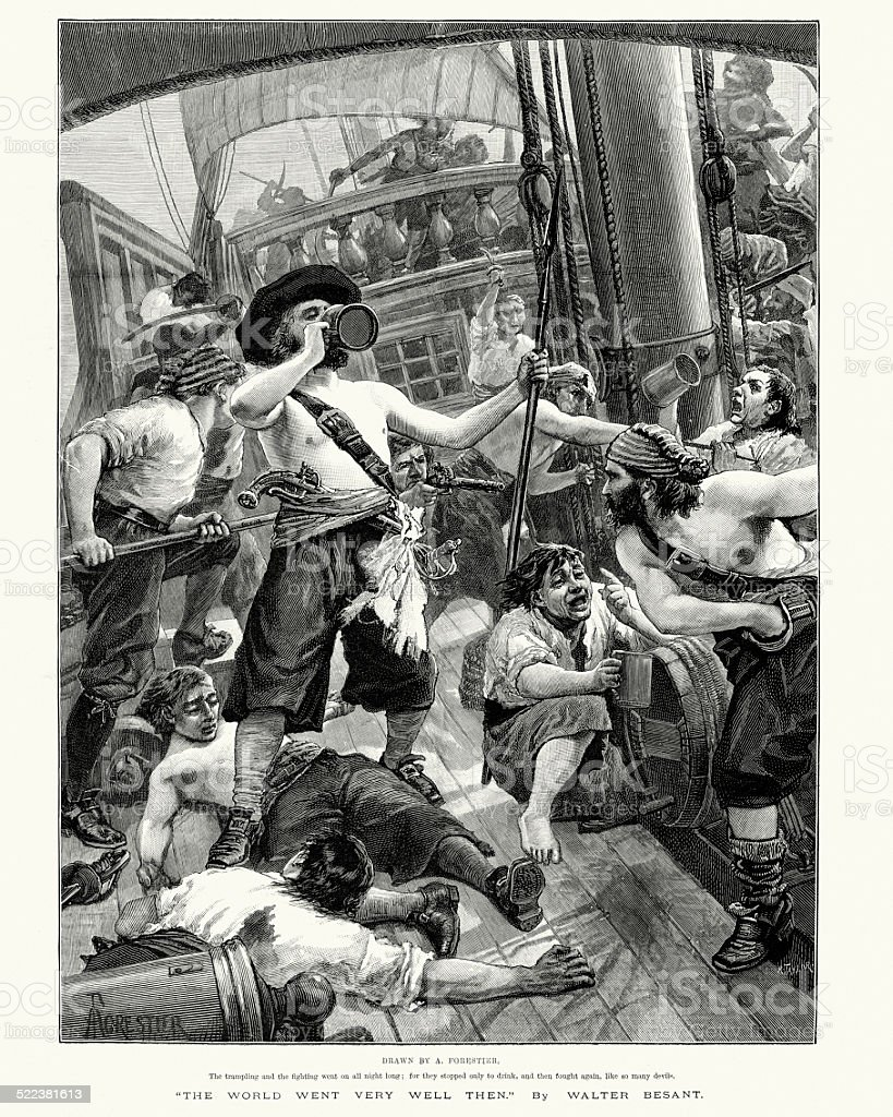 Pirates looting a ship they have captured vector art illustration
