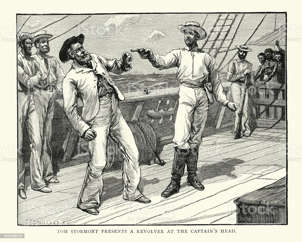 Pirates - Ships Captain held at gunpoint, 19th Century vector art illustration