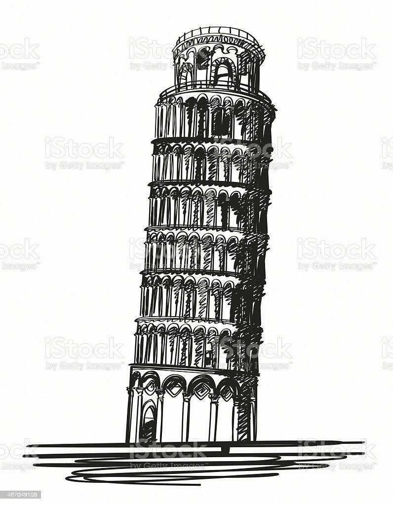 Pisa Tower vector art illustration