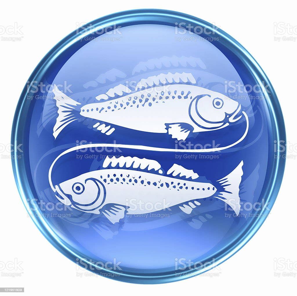 Pisces zodiac icon blue, isolated on white background. vector art illustration