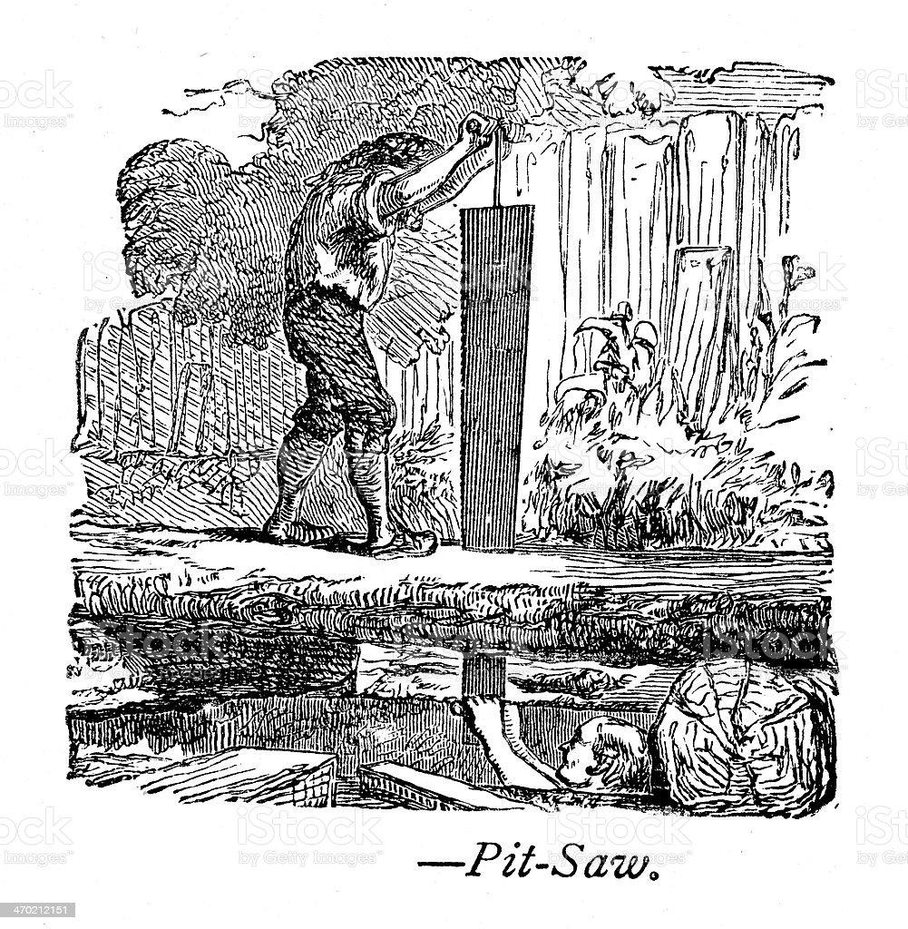 Pit Saw vector art illustration