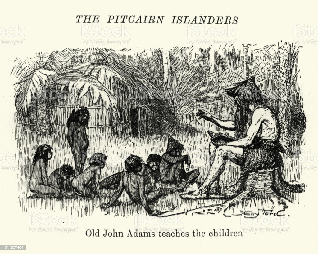 Pitcairn Islanders - John Adams teaches the children vector art illustration