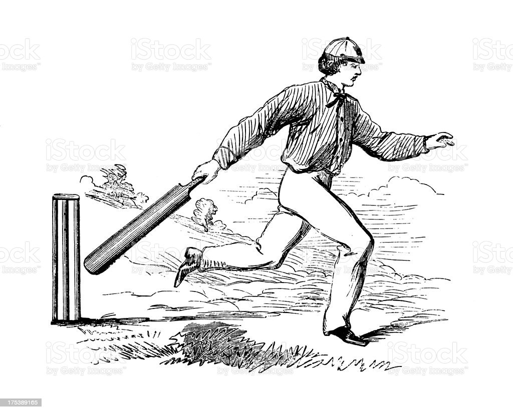 Pitching the wickets | Antique Cricket Illustrations vector art illustration