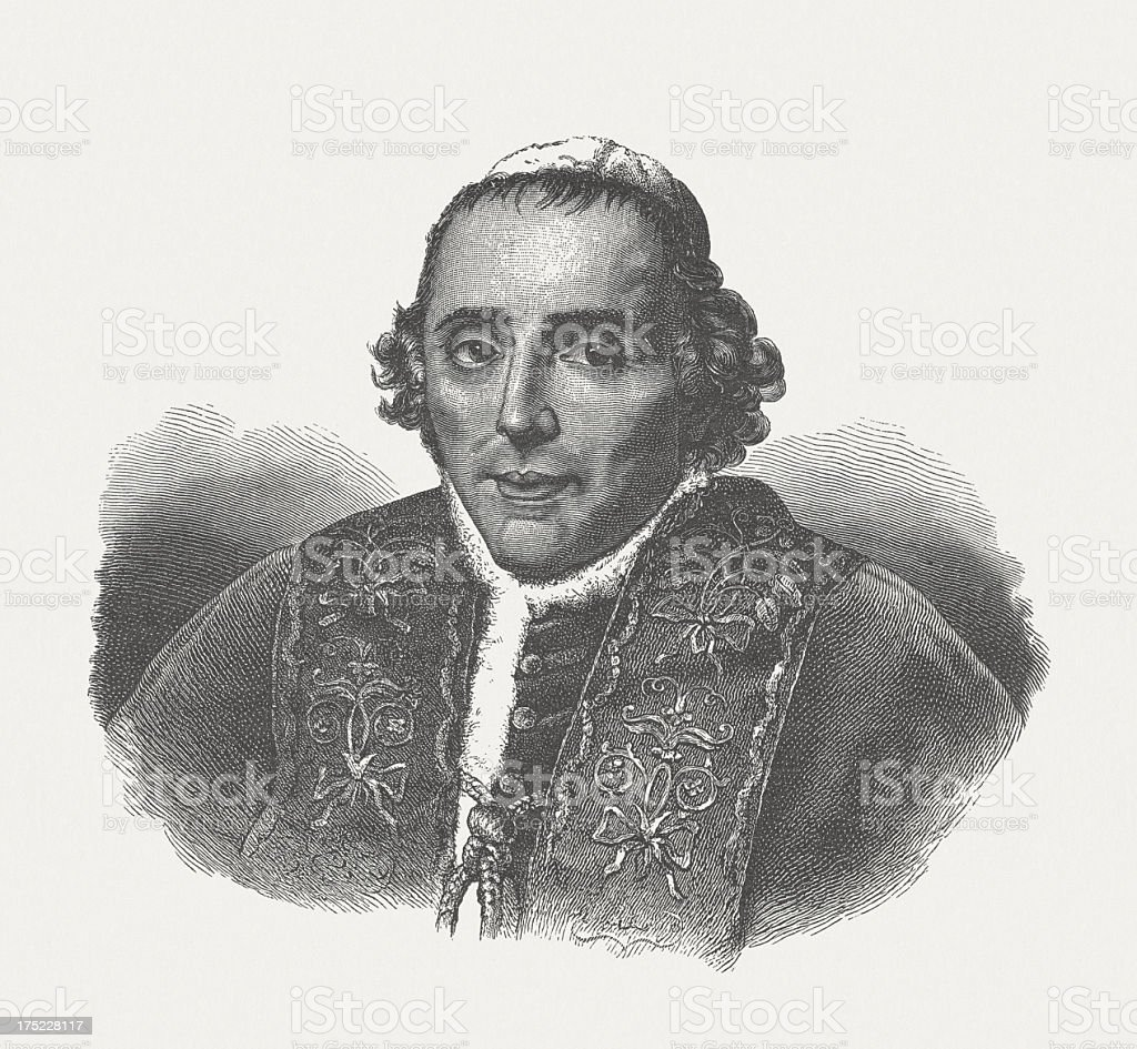 Pius VII (1742-1823), pope, wood engraving, published in 1882 vector art illustration