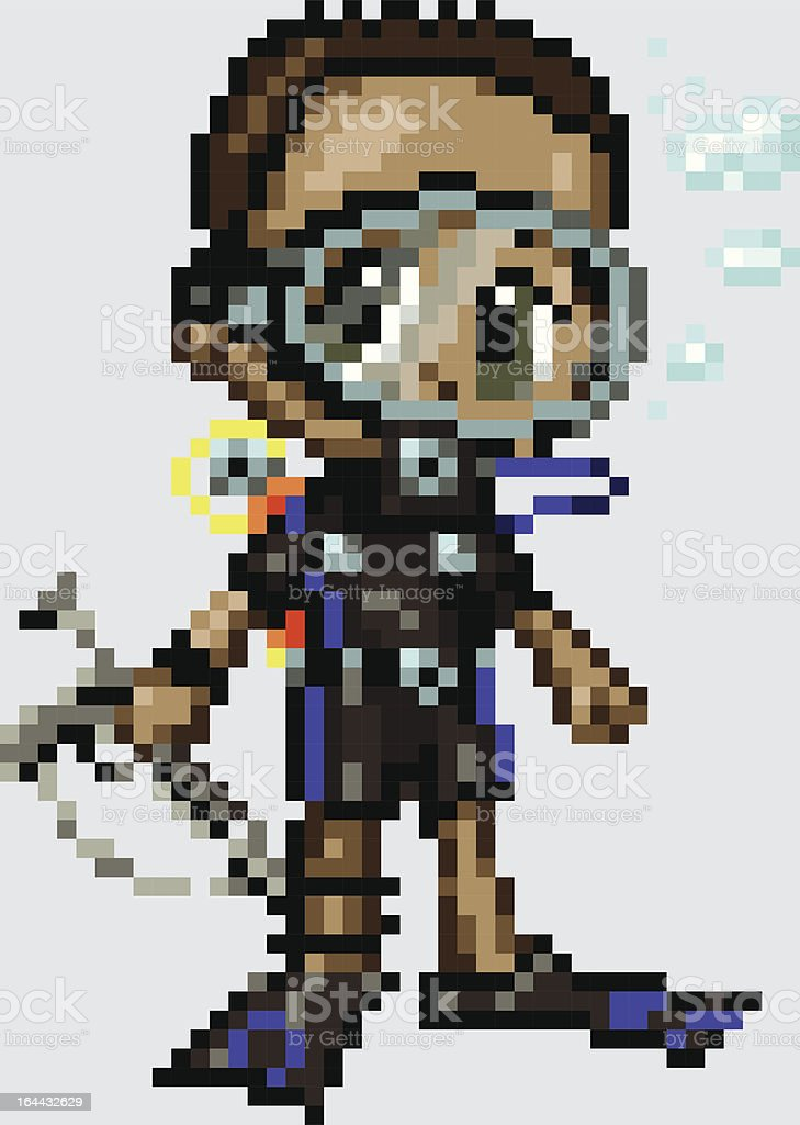 Pixel Art Anime Scuba Diver Boy royalty-free stock vector art