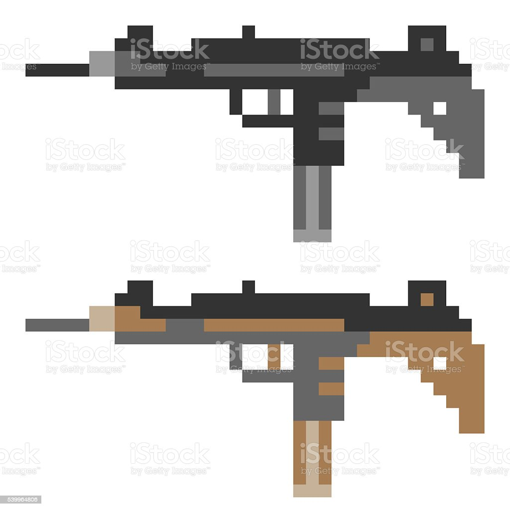 pixel art gun vector art illustration