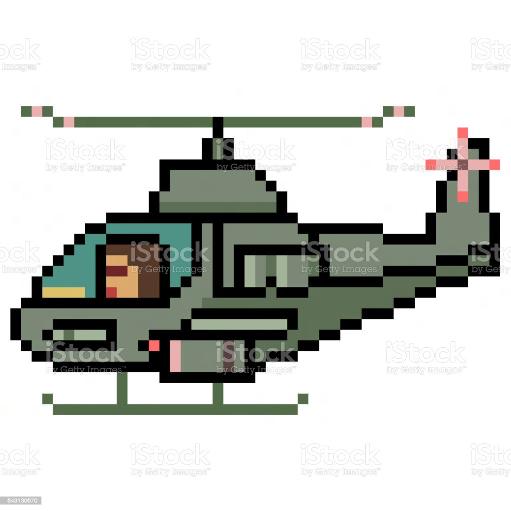 pixel art helicopter stock photo