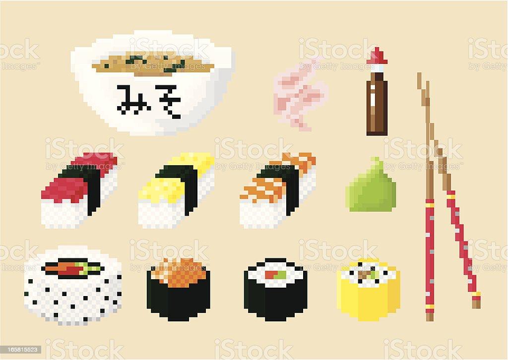 Pixel Art Sushi Set royalty-free stock vector art