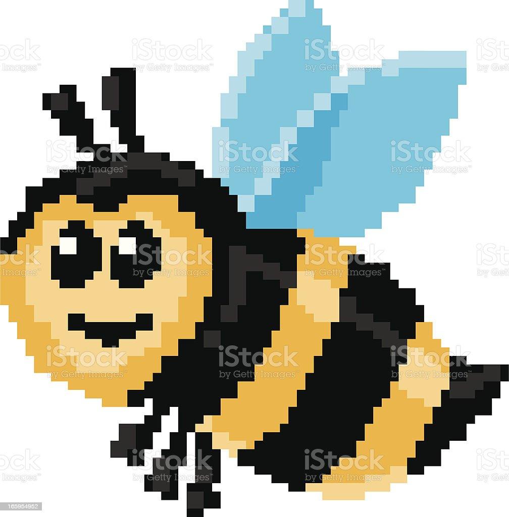 pixel bee vector art illustration