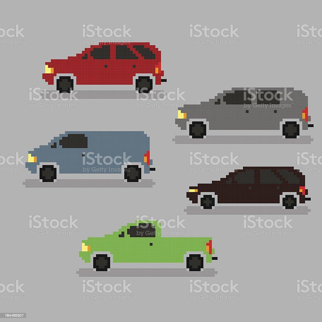 Pixel cars royalty-free stock vector art