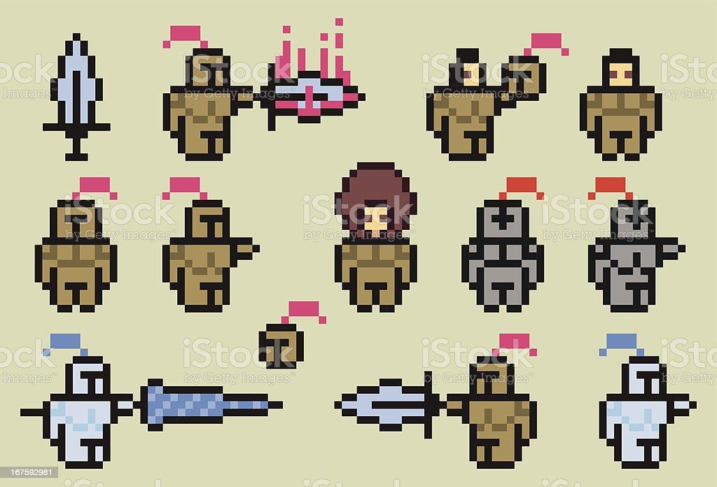 Pixel Knights royalty-free stock vector art
